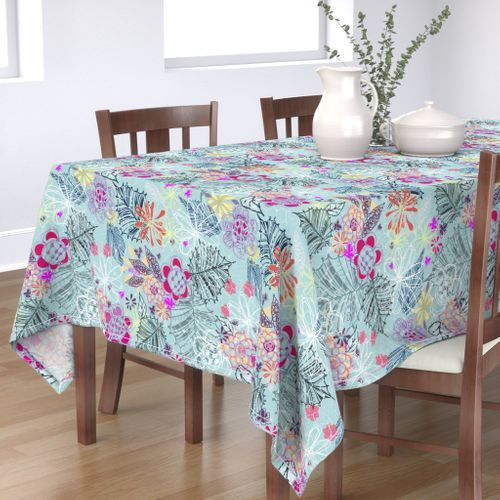 Butterflies Placemats Watercolor Floral Cloth Placemats by Spoonflower Set of 4 - Butterfly Floral-blue by crystal/_walen
