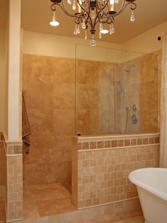 Walk in tile shower without door tiles in for Bathroom designs doors