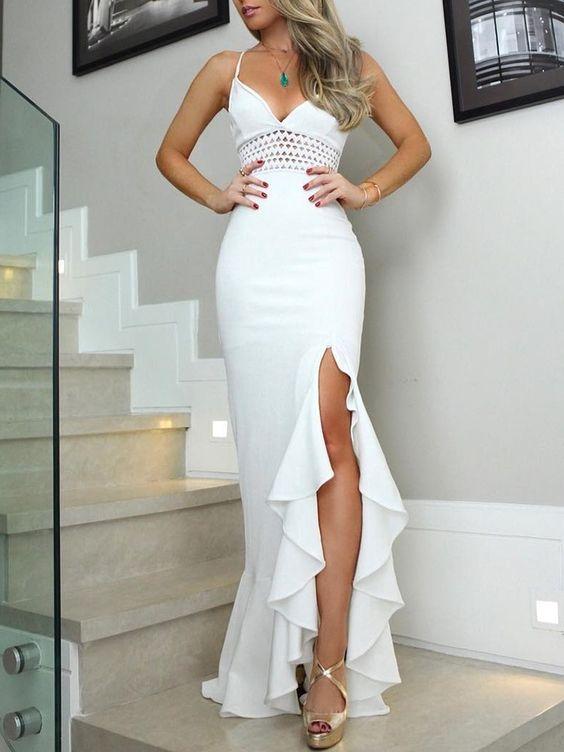 Solid Hollow Out Side Slit Flounced Irregular Dress (S/M/L/XL) $34.99