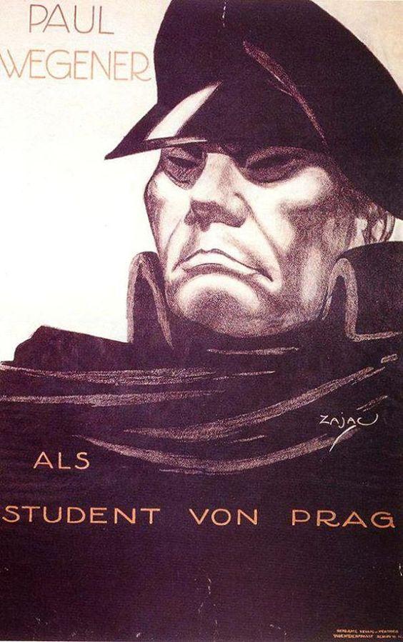 The Student of Prague (1913, 85 min.) Directed by Hanns Heinz Ewers & Stellan Rye w/ Paul Wegener, Paul Wegener, John Gottowt & Grete Berger Poster artist: Zajac