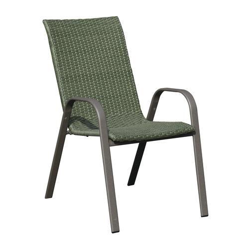 Backyard Creations Larissa Wicker Stack Patio Chair In Green Patio Chairs Backyard Creations Outdoor Chairs