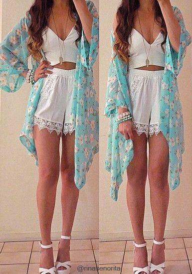 Floral Crop Sleeves Kimono - Sky-blue | Outfits: kimono ...