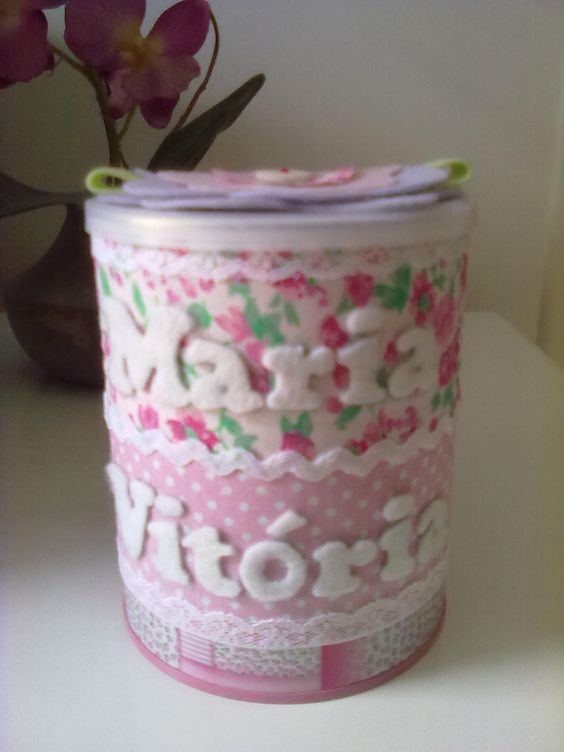 Adesivo Mandala Grande ~ Lata de leite decorada com tecido e feltro Artesanato e Ideias Pinterest Feltro