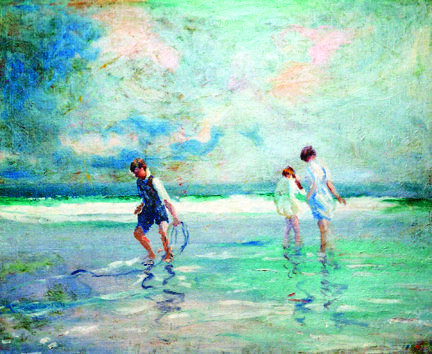Fred Wagner painting of beach with three girls
