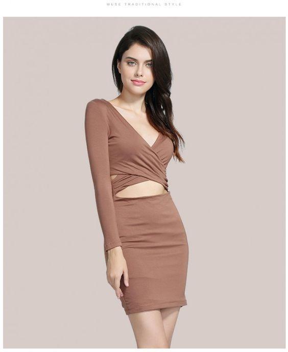 Deep Red Long Sleeve Cut Out Mini Party Dress TCDMU0020