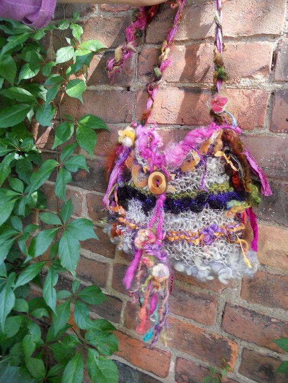 rustic handknit art yarn gypsy shoulder boho bag by beautifulplace