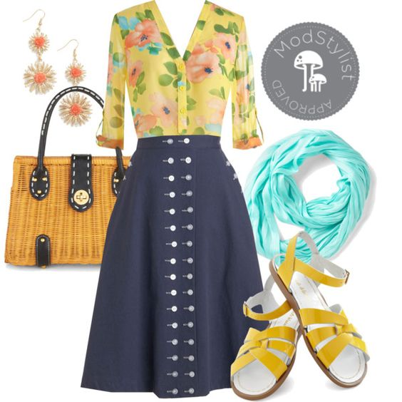 Nautical + Floral by modcloth on Polyvore