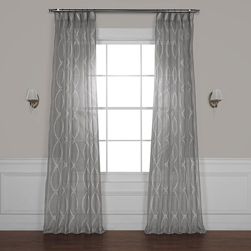 Rose Street Grecian Grey 84 X 50 In Printed Sheer Curtain Single