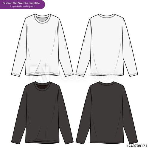 Download Long Sleeve Shirts Fashion Flat Technical Drawing Template Long Sleeve Tops Men Clothing Mockup Long Sleeve Shirts