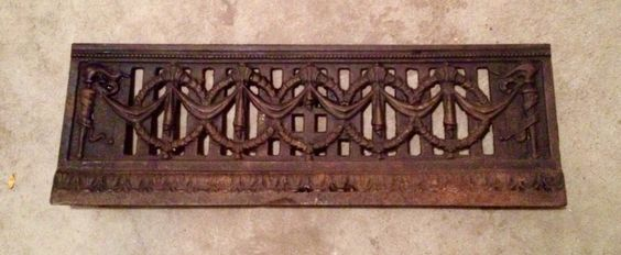 """Antique fireplace vent fragment - can stand alone or hang. 30""""w x 7""""h"""