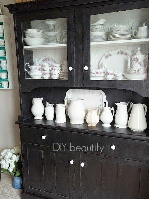 DIY beautify blog country hutch with ironstone