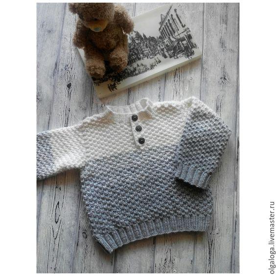 Купить или заказать Вязаный детский свитер. в интернет-магазине на Ярмарке Мастеров. Очень нежный, мягкий свитерок. Воротничек на пуговичках…