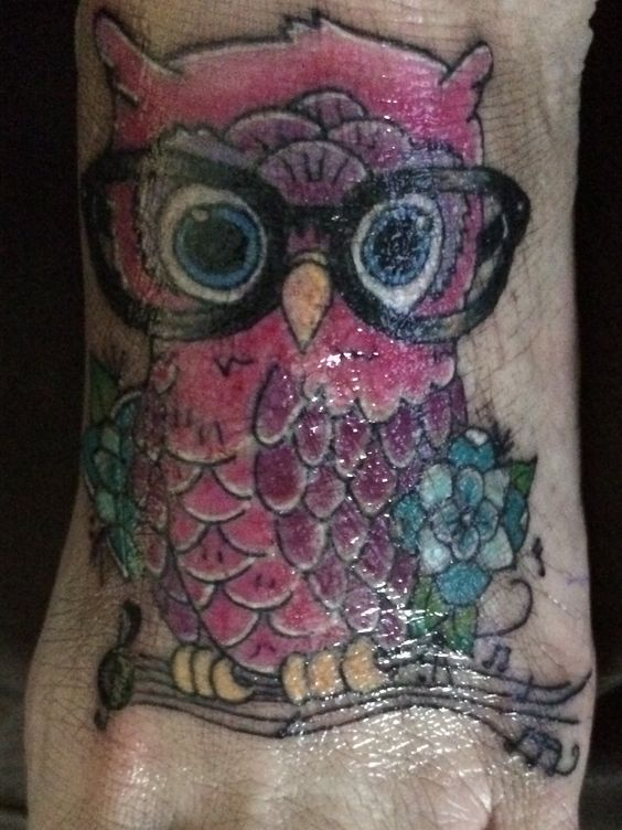 My girly owl foot tattoo by Lucy at Ink Obsession in Nuriootpa South Australia ❤️
