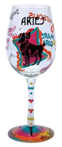 Lolita Love My Sign, Aries Wine Glass by Santa Barbara Design Studio Kitchen. $16.75. Glasses ship in lolita's signature gift box; a distinctive round box with a lid that cushions the glass for storage, as well. Each glass is carefully hand painted; the vibrant colors and embellishments are applied with meticulous detail. Hand washing is recommended. Holds 15-ounces; wine, wine cocktail or juice, holds even candy- don't limit the possibilities because they are endless.......