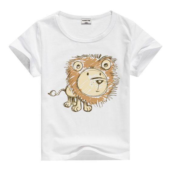Lion Pig Elephant Rabbit zoo animal variety tee t-shirt boys girls child childrens clothing