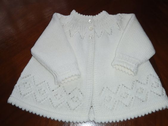 Heirloom Quality Hand Knit White 3ply Merino Matinee Jacket - Sweater  0-6 MONTHS: