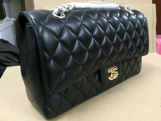 Black Lamb Skin Leather Quilting 2.55 Chain Bag (Gold) Style: #A01113-BLK-LMB-GLD