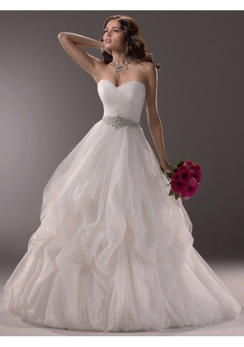 Tulle Strapless Sweetheart Neckline Ruched Bodice Accented with Sash on Ball Gown Wedding Dress MS007
