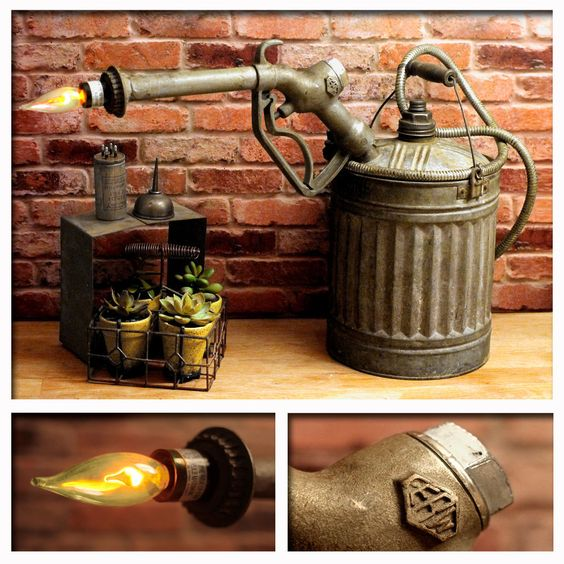 Industrial Light Fuel Oil: Vintage Upcycled Gas Can & 1930's Gas Pump Nozzle Steam