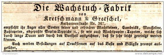 Original-Werbung/ Anzeige 1831 - WACHSTUCH - FABRIK KRETSCHMANN & GRETSCHEL - LEIPZIG  - ca. 130 x 40 mm