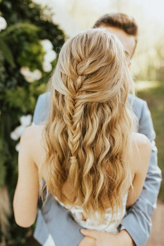 simple braid wedding hair | wedding wavy hair
