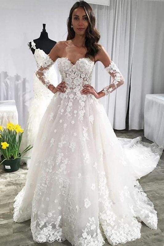 Unique Sweetheart Puffy Lace Appliqued Backless Beach Wedding Dress Lace Applique Wedding Dress Ivory Wedding Dress Wedding Dresses Beaded