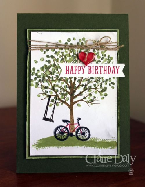 Stampin up sheltering tree birthday card using the