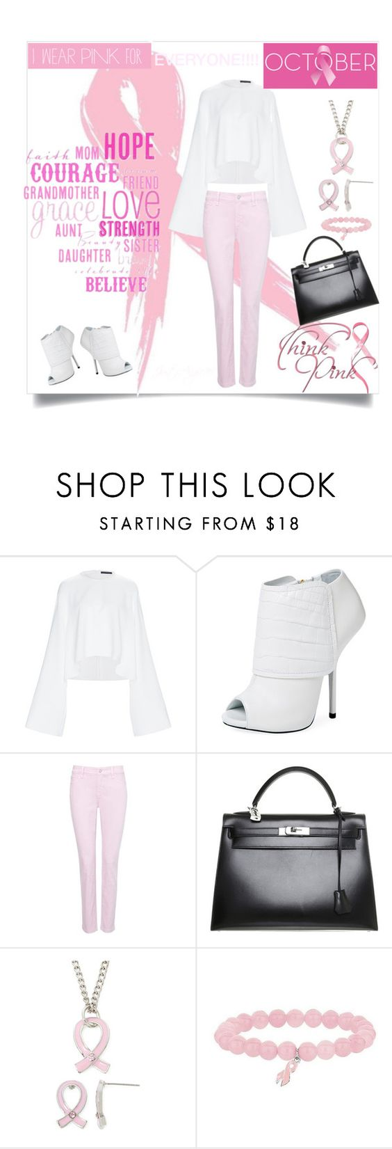 """""""Breast Cancer Awareness"""" by justangie76 ❤ liked on Polyvore featuring E L L E R Y, Giuseppe Zanotti, NYDJ, Hermès, Religion Clothing and Bling Jewelry"""
