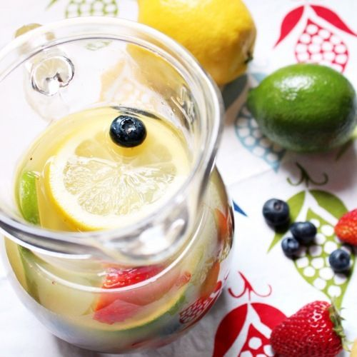 white sangria. I used one package of blueberries, strawberries, 2 lemons, one lime and one orange for the fruit.  If you double the batch (as I did), make sure to have an extra liquids on hand as the fruit soaks up most of it while chilling.