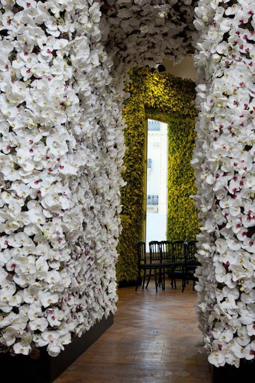 Dior's Haute Couture Fall/Winter 2012 show. Each room contains hundreds of thousands of flowers from floor to ceiling: peonies, goldenrods, dahlias, carnations, delphiniums, roses...oh my!: