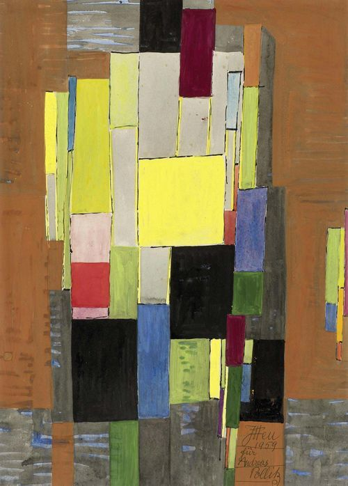 Johannes Itten (Linden 1888 - 1963 Zürich) Abstrakte Komposition, 1959 - Gouache auf Papier, 39 x 28 cm.