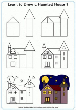 Apprendre dessiner une maison hant e learn to draw a for Apprendre a dessiner une maison