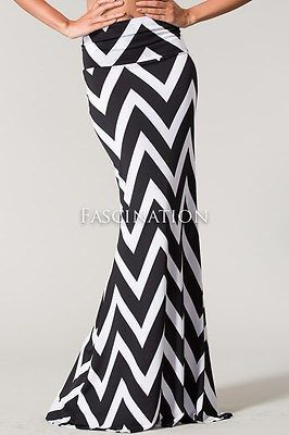 HIGH FOLD OVER WAIST CHEVRON ZIG ZAG BLACK TAUPE LONG MERMAID MAXI SKIRT S M L