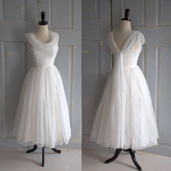 Vintage 1950s wedding dress 50s wedding dress tulle full for Tea length wedding dress tulle skirt