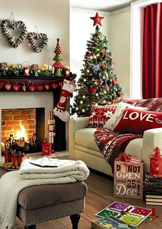 Check this really cute and modern Christmas decor. Fill up your home with white, red and green colors from the tree to the stockings, wreaths pillowcases and so much more.: