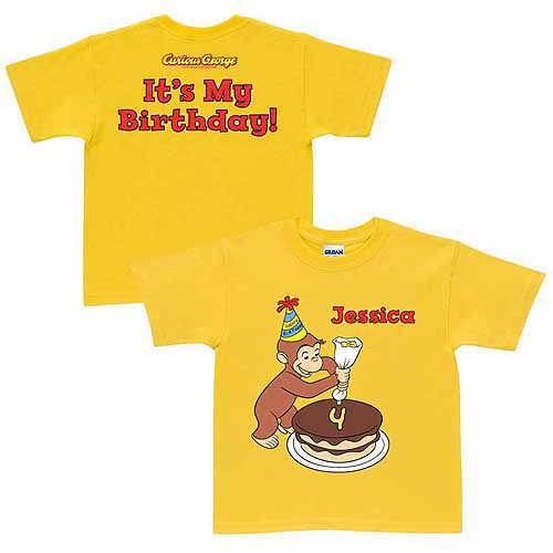 Personalized Curious George It's My Birthday Toddler T-Shirt, Yellow
