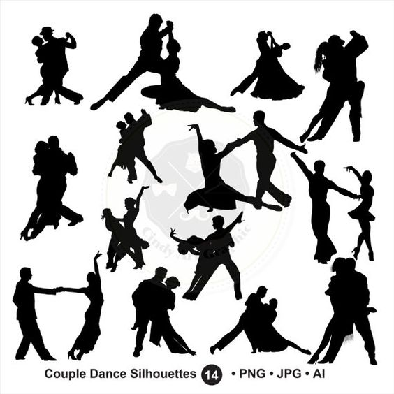 Couple Dance Silhouettes Clipart,couple dancing,ballroom dancing,silhouettes clipart,digital download-BUY 1 GET 1 FREE! Use Code: 1GET12016