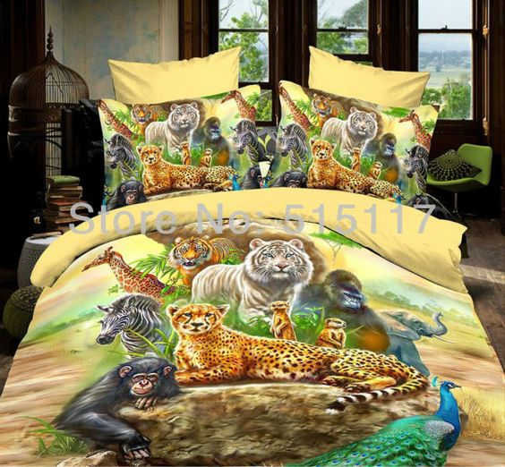 Colorful Printing Zoo Animal Bedding Set 4pc For Girls 100