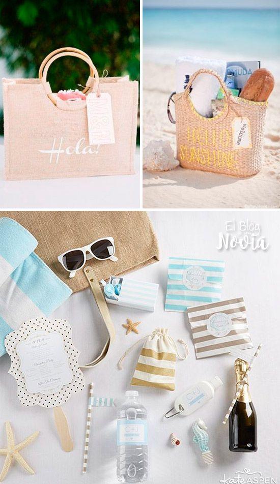 bolsa de bienvenida con obsequios para los invitados de una boda en la playa balart