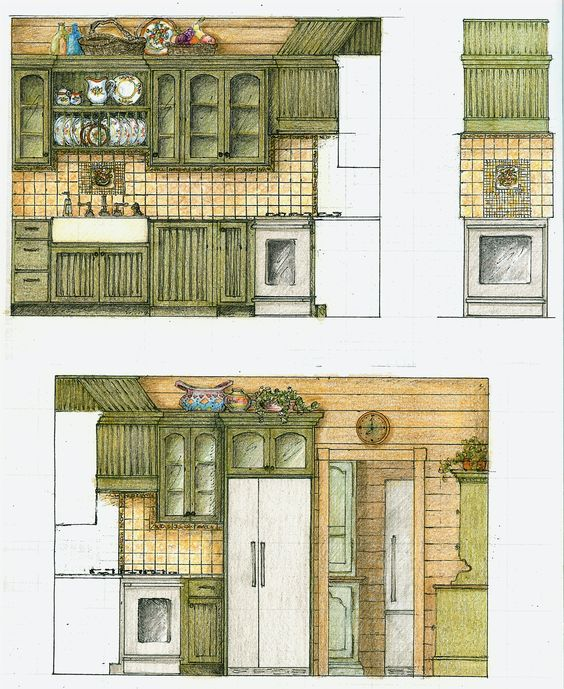 Kitchen Design Elevation: Architectural Elevations