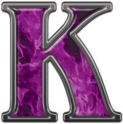 k | letter k with inferno purple flames reflective letter ...