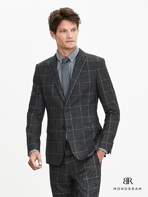 BR Monogram Bold Plaid Italian Wool Suit Jacket