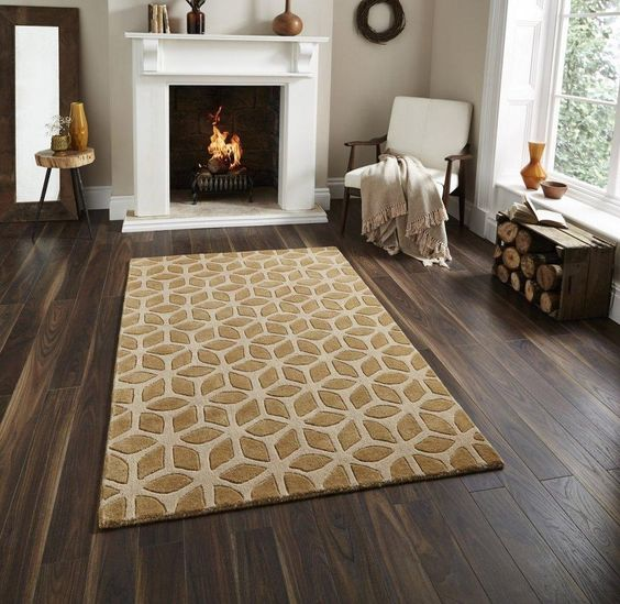 Moderner Teppich 100 Wolle Wohnzimmer Schlafzimmer Fusion beige - moderne wohnzimmer beige