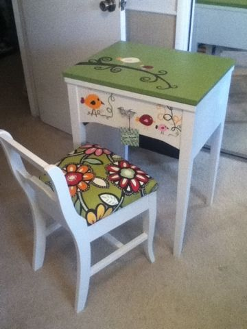 Revamp an old sewing cabinet and piano chair into an adorable desk.