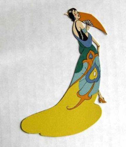 Vintage-Bridge-Tally-Place-Card-Deco-Asian-Woman-w-Fan-in-Long-dress