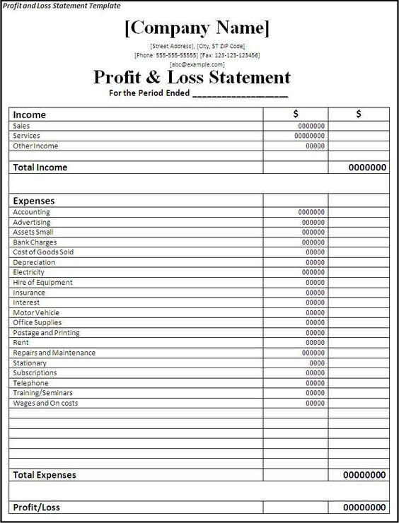 profit and loss statement template Planners Pinterest – Personal Profit and Loss Statement Form