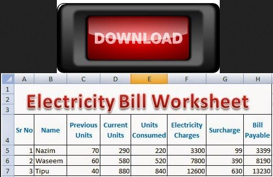 Download Excel Electricity Bill Calculation Worksheet Free Electricity Bill Electricity Worksheets Free