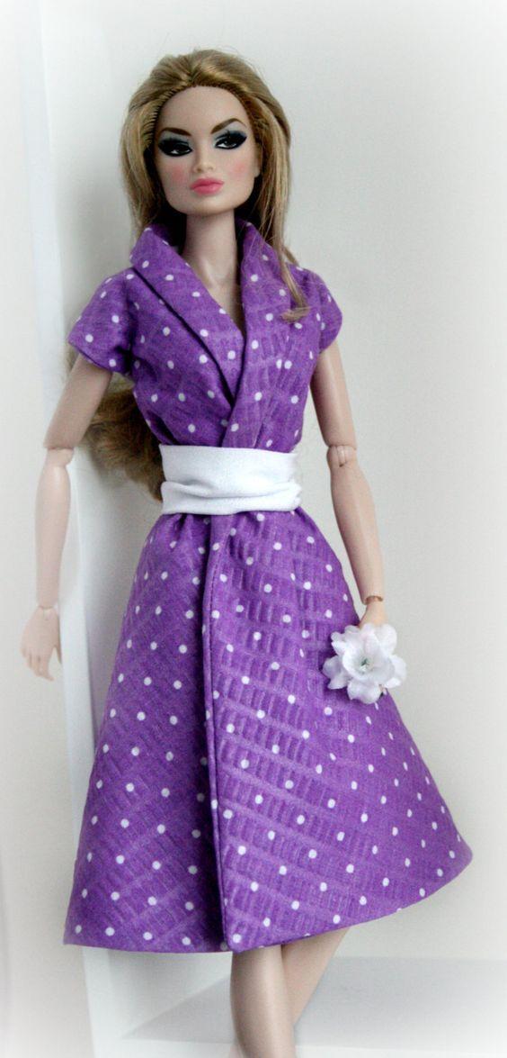 Shirtdress in lila und weiß für Barbie von ChicBarbieDesigns