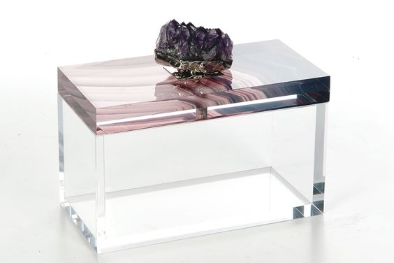 Kimberly McDonald's Lucite-embedded agate, silk and Lucite box with amethyst pull.