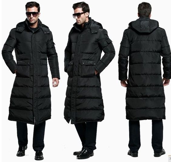 Details about 3 COLOR Men's Full Length DuCK Down Hooded Long ...